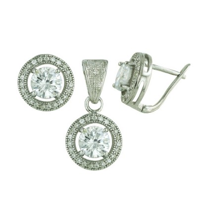 Sterling Silver Set 6mm Clear Cubic Zirconia on Micro-Paved Bezel