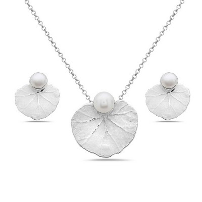 Sterling Silver Set White Fresh Water Pearl with Vine Lined Leaf