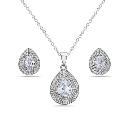 Sterling Silver SET OF TEAR DROP EARRING AND PENDANT CLEAR Cubic Zirconia P