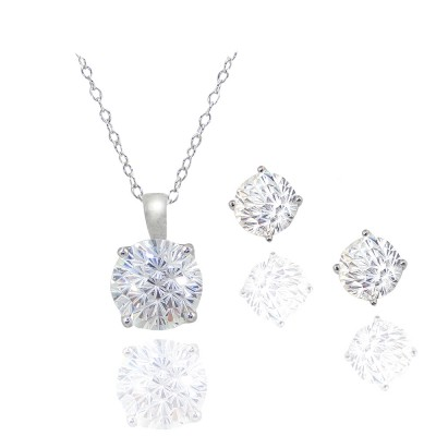 Sterling Silver Pendant (10mm) +Earg (8mm) Round Flower Cut Clear Cubic Zirconia