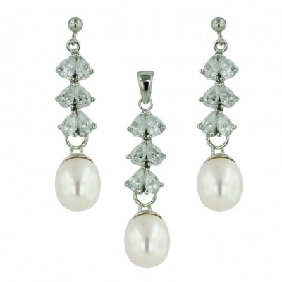 Sterling Silver Set 6 Clear Cubic Zirconia Tear Drop with White Fresh Water Pearl Oval
