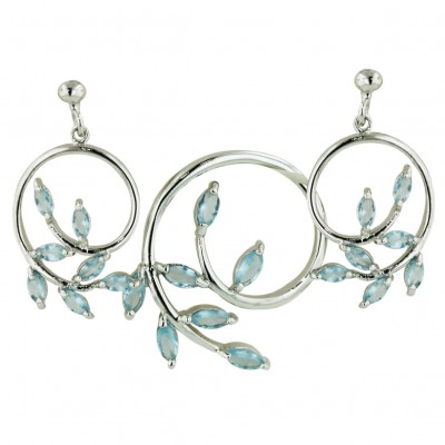 Sterling Silver Set Swirl with Aqua Marine Glass #106 Marquis