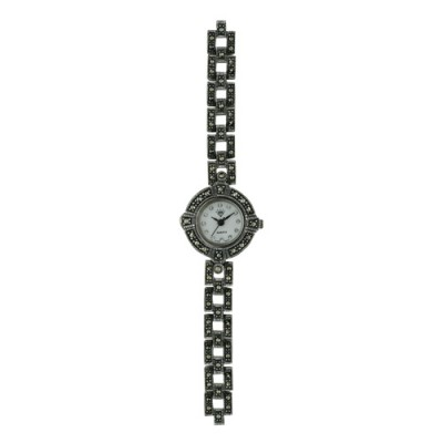 Marcasite Watch Rd Face with Marcasite Link Strap
