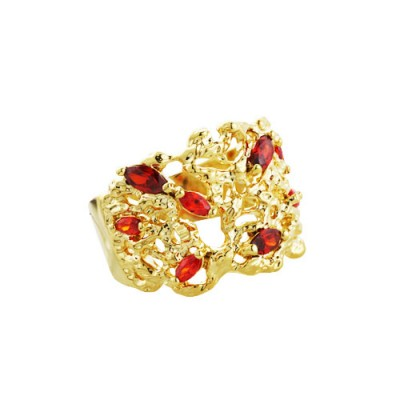 Brass Ring Open Coral Reef Gn Marquis (S), Red