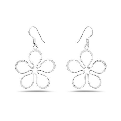 Sterling Silver Earring Open Hammered Wire in 5 Petals Dangle Fish