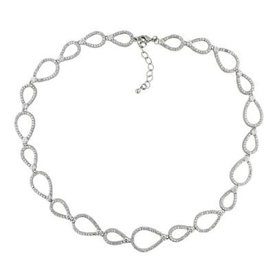 Brass Necklace Connecting Teardrop W/ Cl Cz