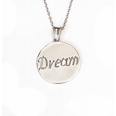Sterling Silver Necklace Dream Word Cut Out 18 Inches