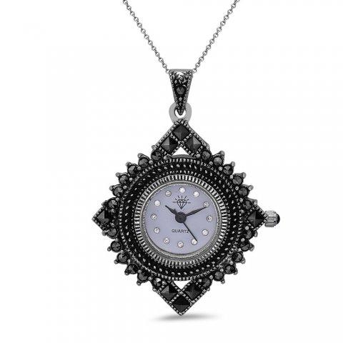 Marcasite pendant watch diamond shape black base aloadofball Choice Image