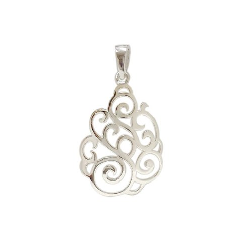 Sterling silver pendant plain open swirls make teardrop mozeypictures Images