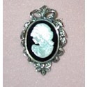 MARCASITE PIN+PENDANT MOTHER OF PEARL CAMEO ON ONYX OVAL