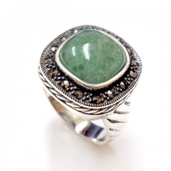 Marcasite Ring Rope Side 18 mm Green Aventurine Wrap
