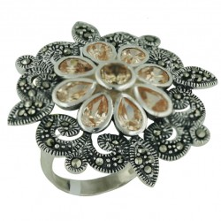 Marcasite Ring 8 Tear Drop+Ctr Champagne Cubic Zirconia+Marcasite Flower