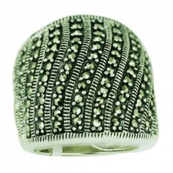 Marcasite Ring Multicolor Vertical Wavy Lines Swiss Cut with Oxid