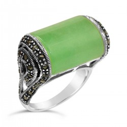 Marcasite Ring 24X14mm Green Jade Rectangular with Marcasite Sides+Oxidiz