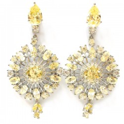 Sterling Silver Earring Dangle Snowflake Canary Cubic Zirconia +Clear Cubic Zirconia