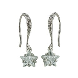 Brass Earring Clear Cubic Zirconia Star Dangle on Clear Cubic Zirconia Fish Hook