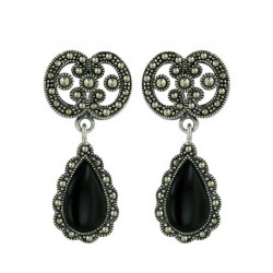 Marcasite Earring Onyx 15mm Teardrop