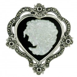 Marcasite Pin Heart Onyx with Cameo Lady Face