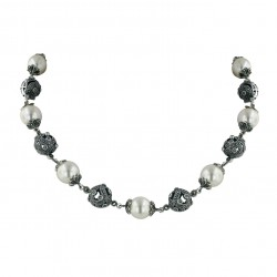 Marcasite Necklace 16.5'' Quadruple 13mm White Faux Pearl