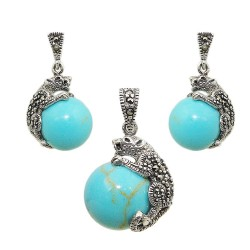 Marcasite Set 12mm Faux Turquoise Ball with Marcasite Cougar Oxidized Rop
