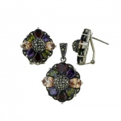 Marcasite Set Earring+Pendant 8 Petals Cubic Zirconia Flower Garnet +Champagne+Olivine+Amethyst with