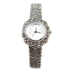 Marcasite Watch Rd Wht. Face Connecting Arrow Strap
