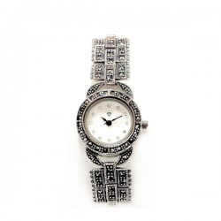 Marcasite Watch Rd White Face Rectangular Link Starp