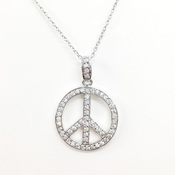 STERLING SILVER PENDANT CLEAR CUBIC ZIRCONIA PAVED OPEN PEACE SIGN