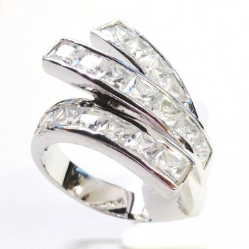 "STERLING SILVER RING ""Y"" WRAP AROUND WITH CLEAR CUBIC ZIRCONIA ON ENDS"