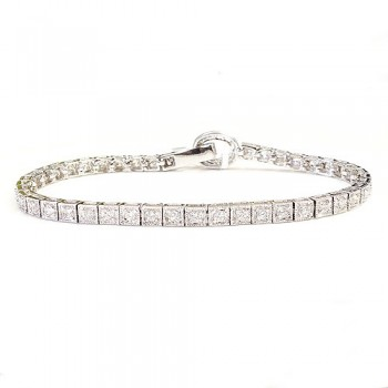 Sterling Silver Bracelet Connecting Square with Clear Cubic Zirconia