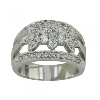 Brass Ring Clear Cz Flower Marquis Leaf