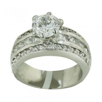 Brass Ring 8Mm Clear Cz Solitaire With Channel Set