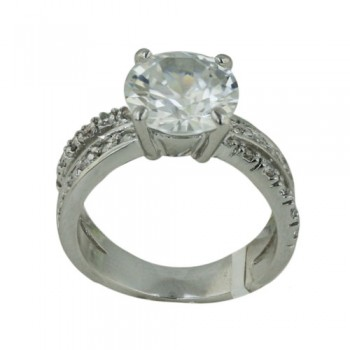 Brass Ring 10Mm Round Clear Cz Solitaire