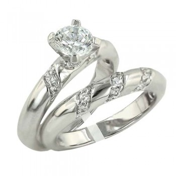 Brass Ring 2 Pcs Engagement 6Mm Cl Cz Solitaire W/