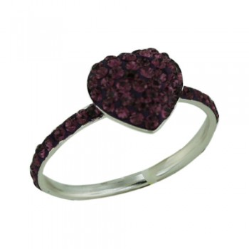 Brass Ring12.5Mm/14.5Mm Puffy Heart Amethyst Crys