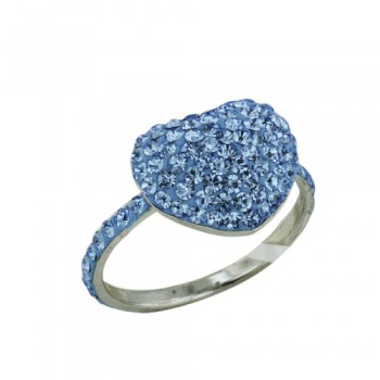 Brass Ring12.5Mm/14.5Mm Puffy Heart Blue Topaz Cr