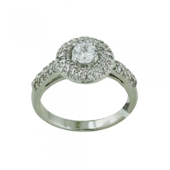 Brass Ring 5mm Clear Cubic Zirconia on Paved Donut - 8