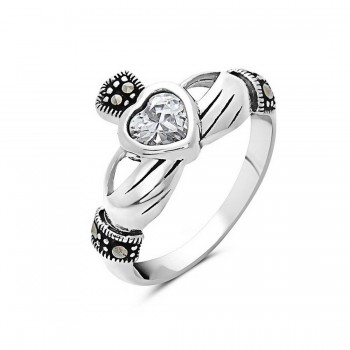 Marcasite Ring Clear Cubic Zirconia Heart Claddagh