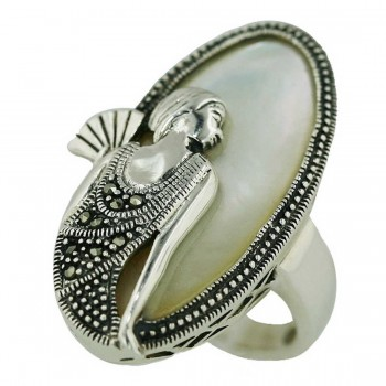 Marcasite Ring 35X18mm White Mother of Pearl Oval with Lady Portrait
