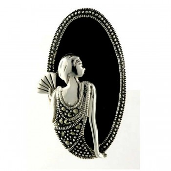 Marcasite Ring 35X18mm Onyx Oval with Lady Portrait