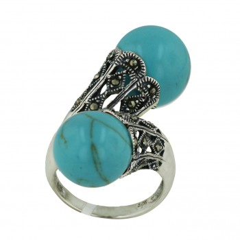 Marcasite Ring Oppositive 12mm Faux Turquoise (with Gold Vein) Ball with Marcasite O