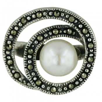 Marcasite Ring 8mm White Fresh Water Pearl with Pave Marcasite Swirl Around - 8