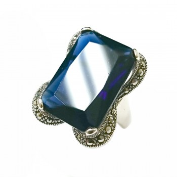 Marcasite Ring 23X16mm Rectangular Sapphire Cubic Zirconia with Marcasite Lines