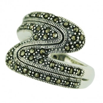 Marcasite Ring Double Row Zig-Zag - 9