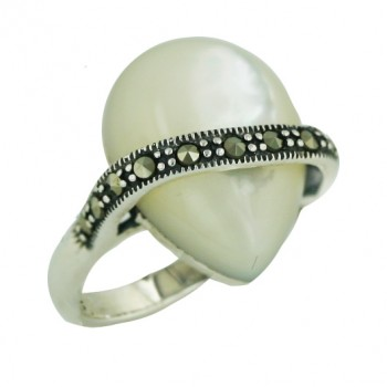 Marcasite Ring Cabcohon Tear Drop White Mother of Pearl with Marcasite Lines Bypa - 6