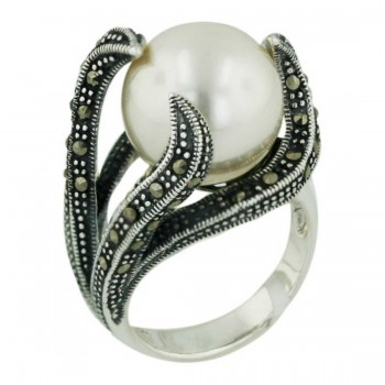 Marcasite Ring 12mm White Faux Pearl with Marcasite Vine Side