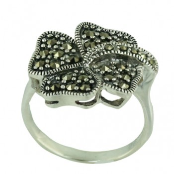Marcasite Ring Clover Leaf with Oxidized Rope Polished - 8