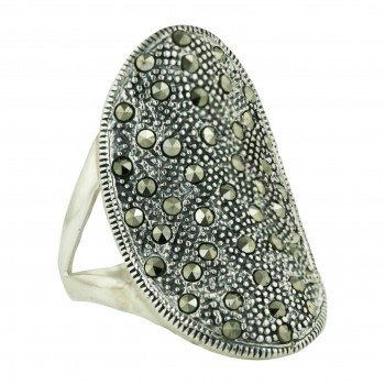 Marcasite Ring Pave Marcasite Oval with Twisted Rope Swiss Cut - 9