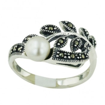 Marcasite Ring White Fresh Water Pearl with Flower Leaves - 6