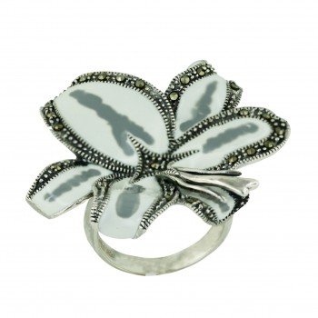 Marcasite Ring White+Faded Gray Enamel Flower - 6